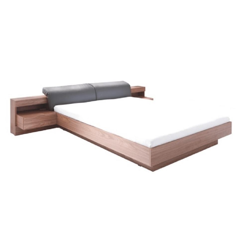 Manželská posteľ, 160x200, orech/grafit, REKATO