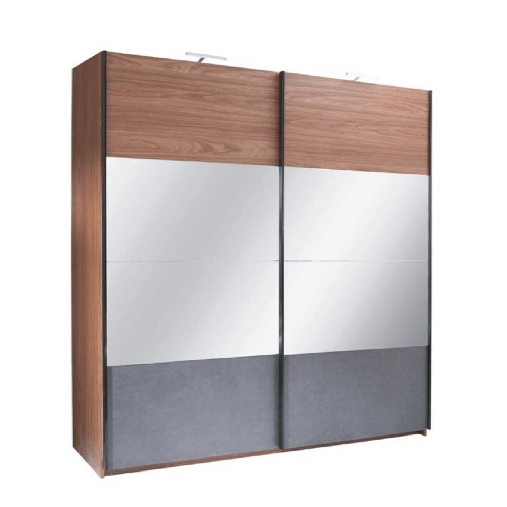 Skříň s posuvnými dveřmi, ořech / grafit, 200x219, Rekato