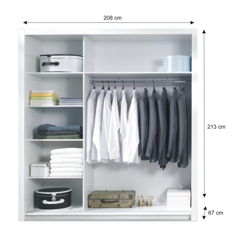 Set dormitor (dulap + pat 160x200 + 2x noptiere), alb/alb lucios HG, ASIENA