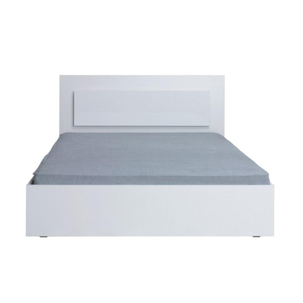 Manželská posteľ, 160x200, biela/ vysoký biely lesk HG, ASIENA