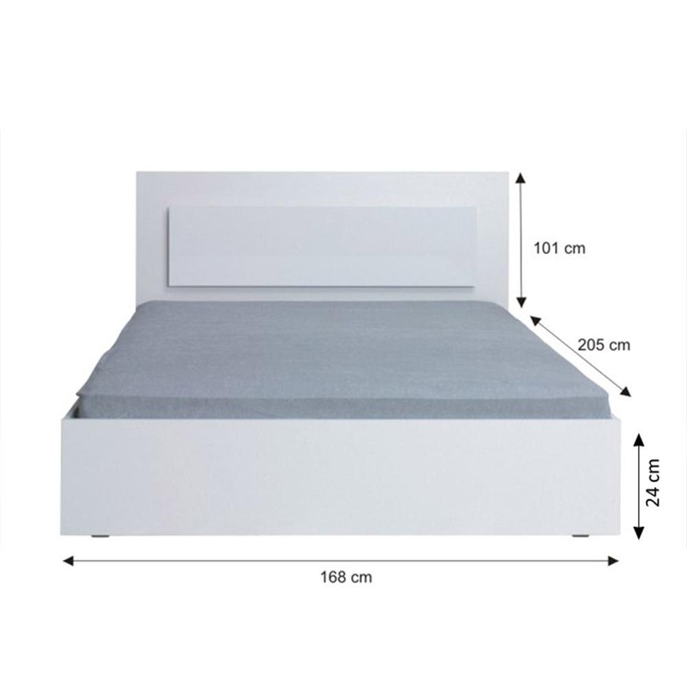 Ágy, 160x200, fehér/ magas fény HG, ASIENA
