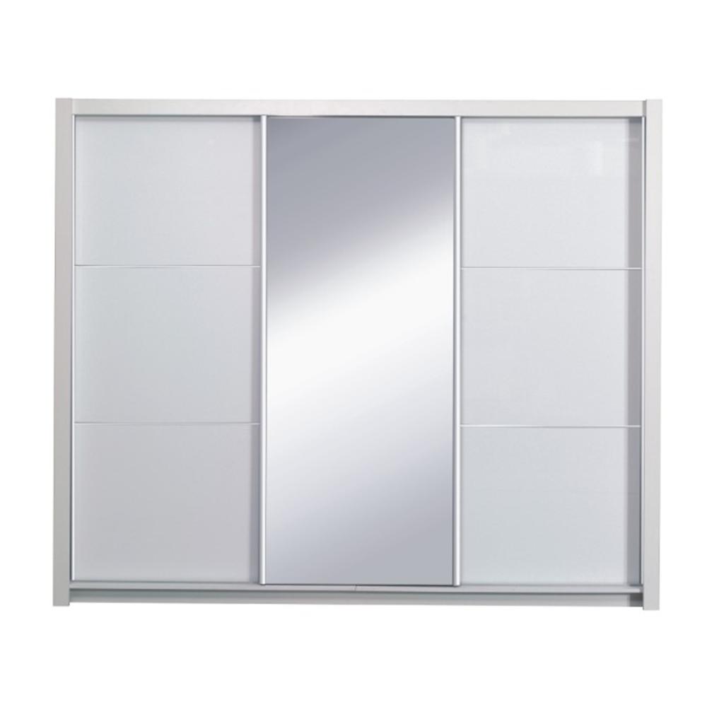 Dulap cu uși glisante, alb/alb lucios, 258X213,  ASIENA