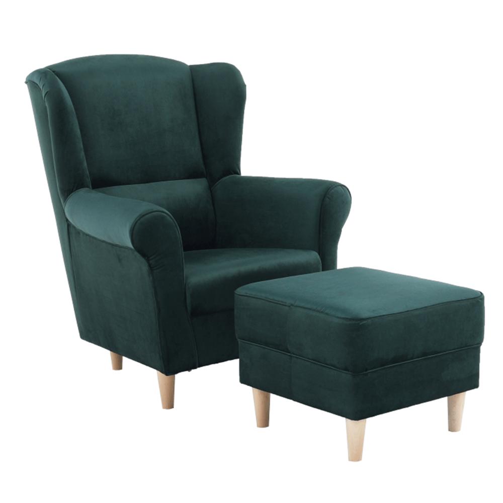 ASTRID - Křeslo ušák, s taburetem, látka smaragdová, TEMPO KONDELA
