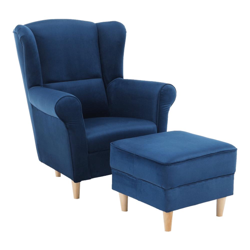 ASTRID - Křeslo ušák, s taburetem, látka modrá, TEMPO KONDELA