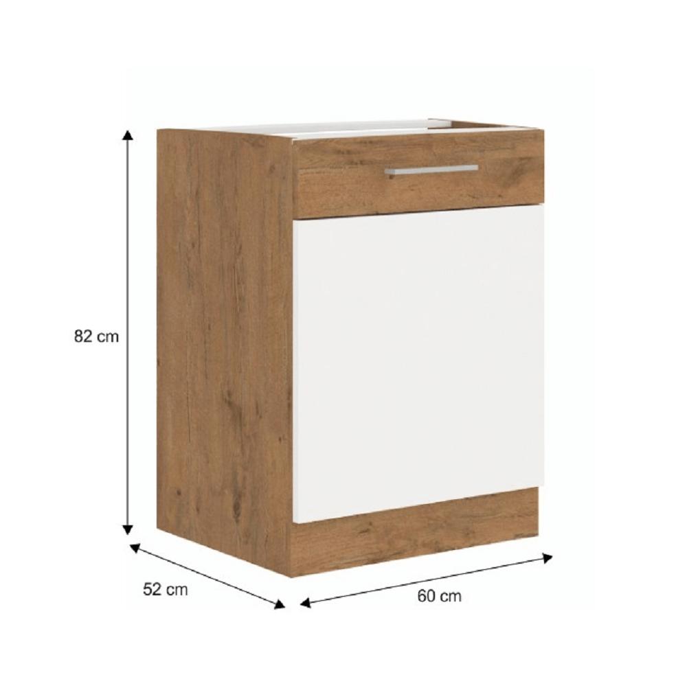 Spodní skříňka, bílá extra vysoký lesk HG / dub lancelot, VEGA D60 1F BB