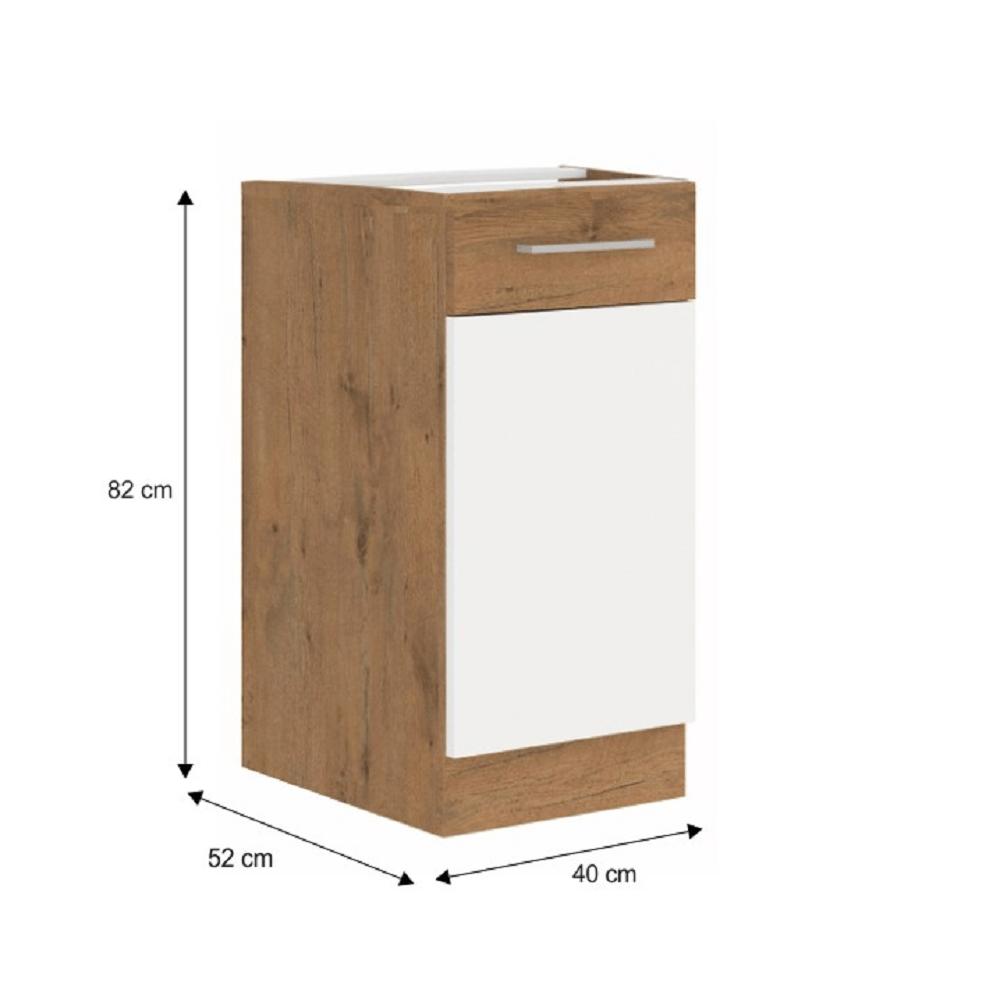 Spodní skříňka, bílá extra vysoký lesk HG / dub lancelot, VEGA D40 1F BB