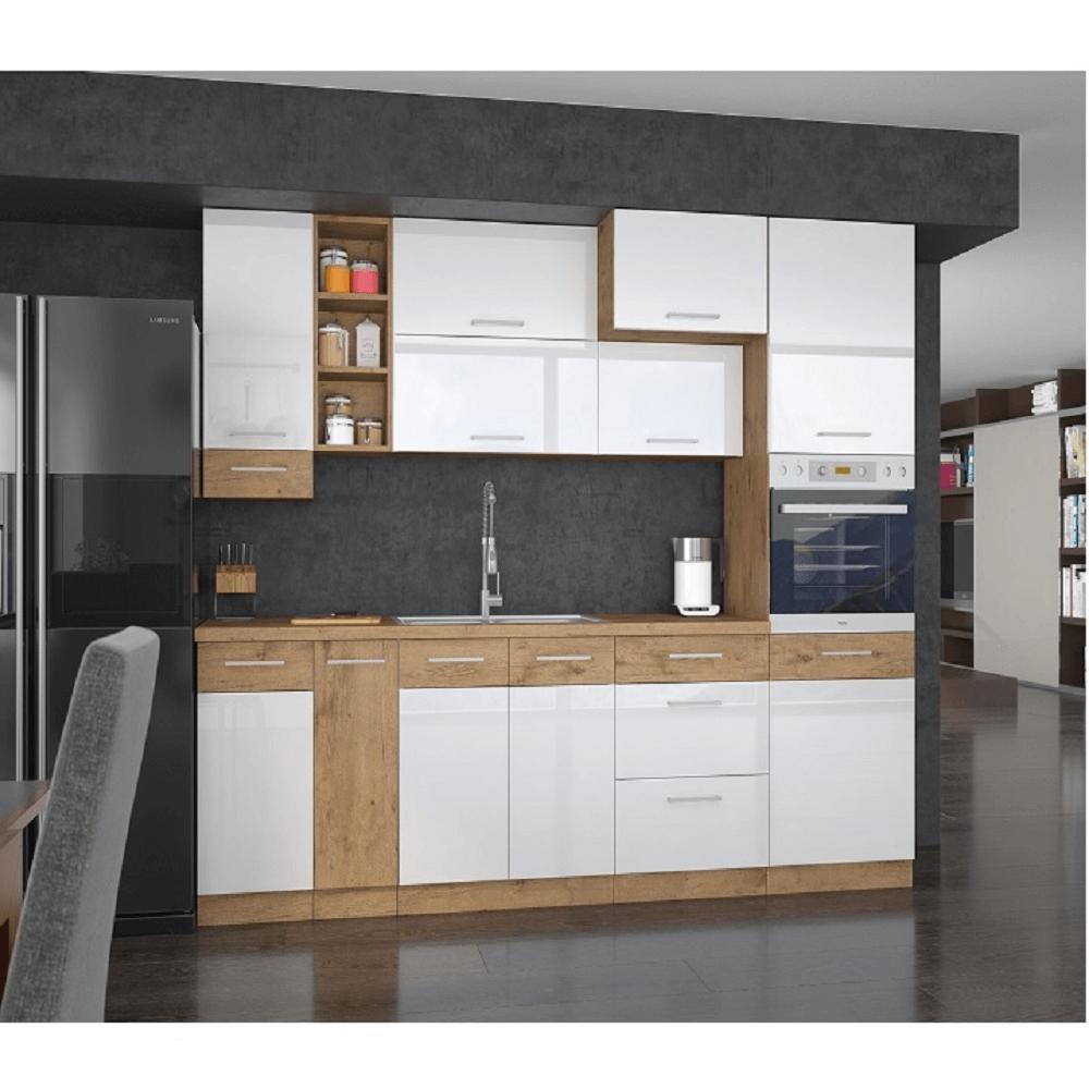 Cabinet inferior, alb extra lucios HG/stejar Lancelot, VEGA DN 1F BB
