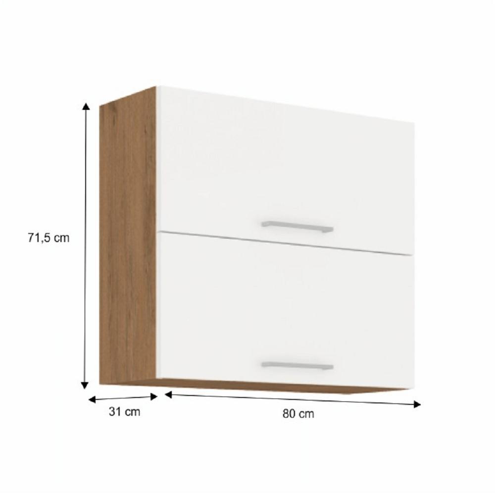Horní skříňka, dub lancelot / bílá extra vysoký lesk HG, VEGA 80 GU-72 2F