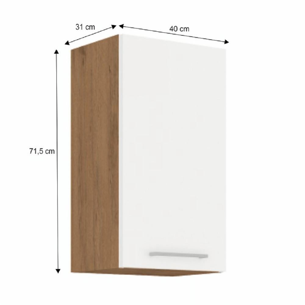 Horní skříňka, dub lancelot / bílá extra vysoký lesk HG, VEGA 40 G-72 1F