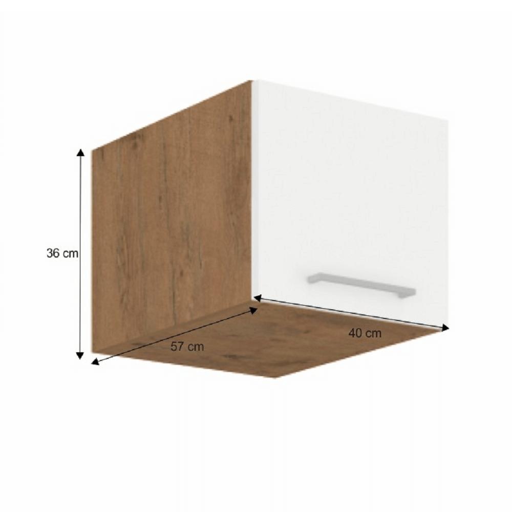 Horní skříňka, dub lancelot / bílá extra vysoký lesk HG, VEGA 40 Nagu-36 1F