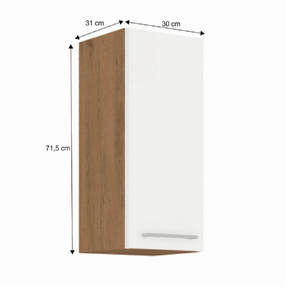 Horní skříňka, dub lancelot / bílá extra vysoký lesk HG, VEGA 30 G-72 1F