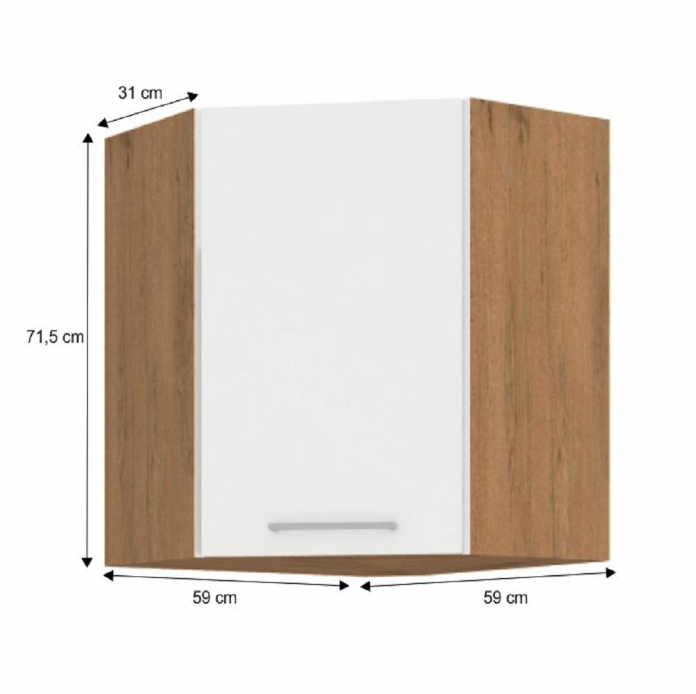 Horní rohová skříňka, dub lancelot / bílá extra vysoký lesk HG, VEGA 58x58 GN-72 1F