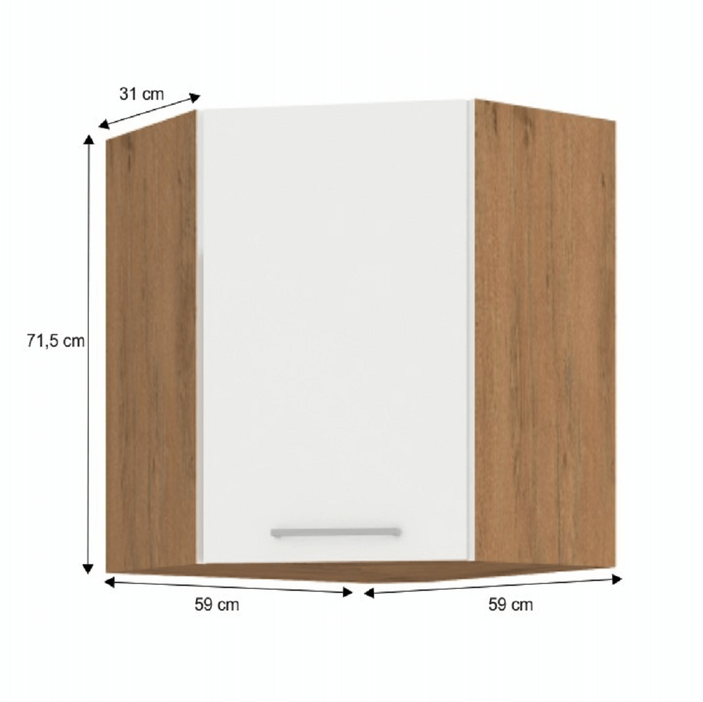 Cabinet superior de colț, stejar Lancelot/alb extra lucios HG, VEGA 58x58 GN-72 1F