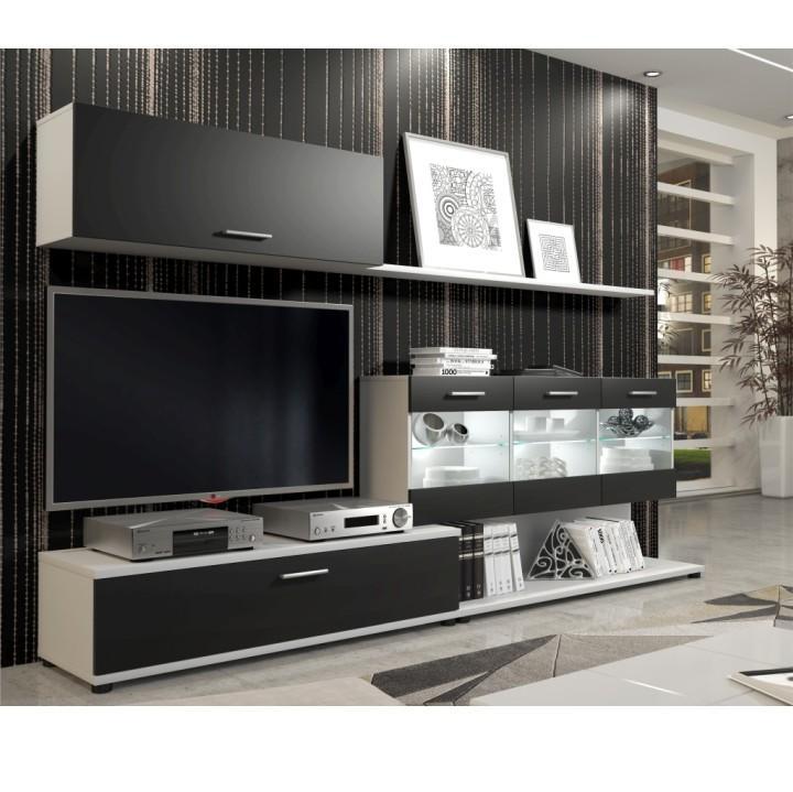 Obývacia stena, biela/sivá, MURAT