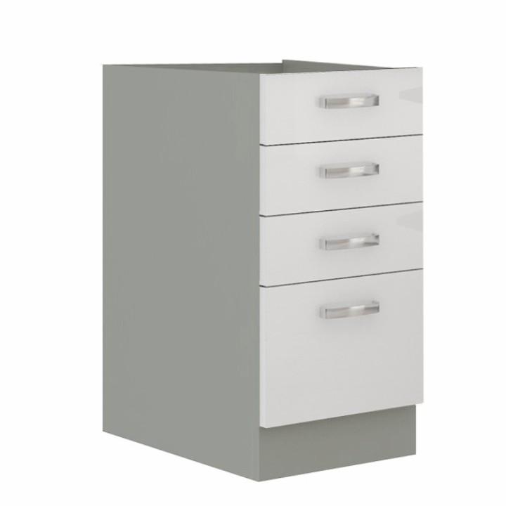Alsó szekrény, fehér magas fényű fehér, PRADO 40 D 4S