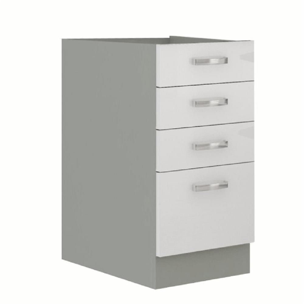 Cabinet inferior, alb extra lucios/gri, PRADO 40 D 4S BB