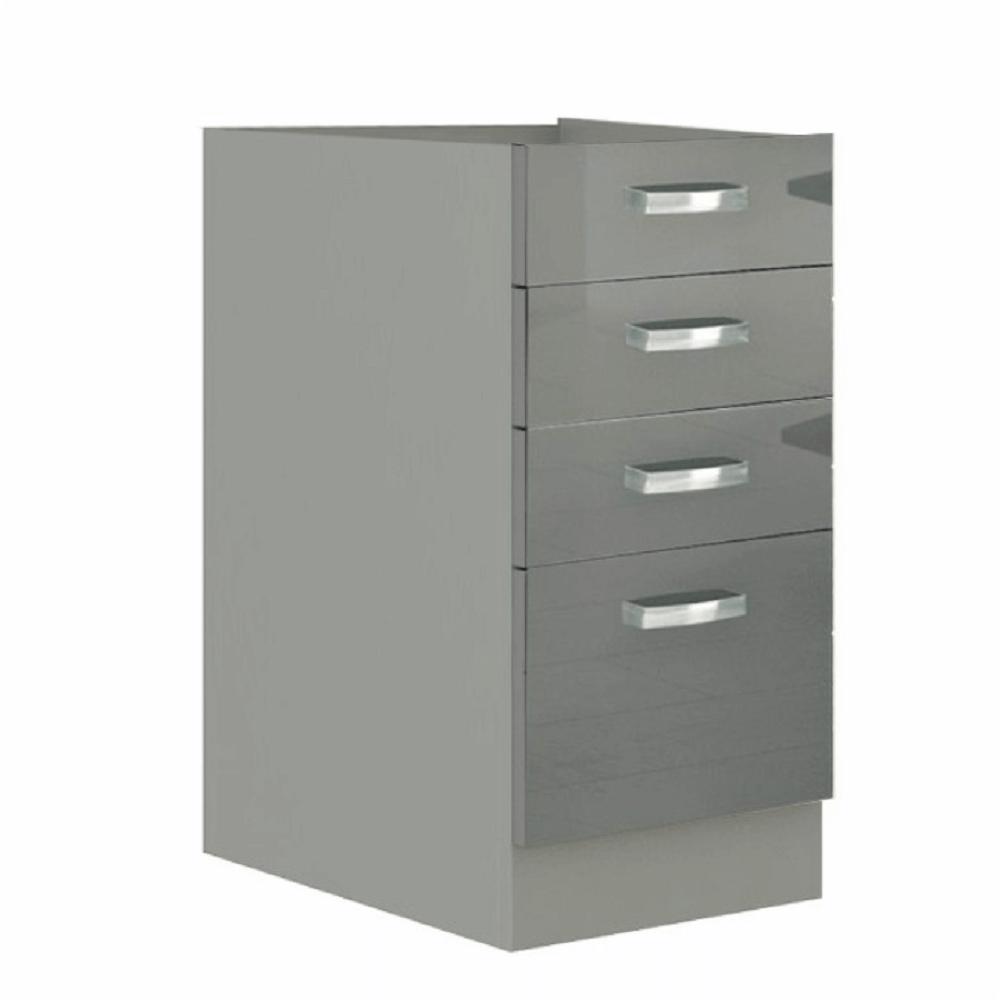 Alsó szekrény, szürke/szürke extra magasfényű, PRADO 40 D 4S