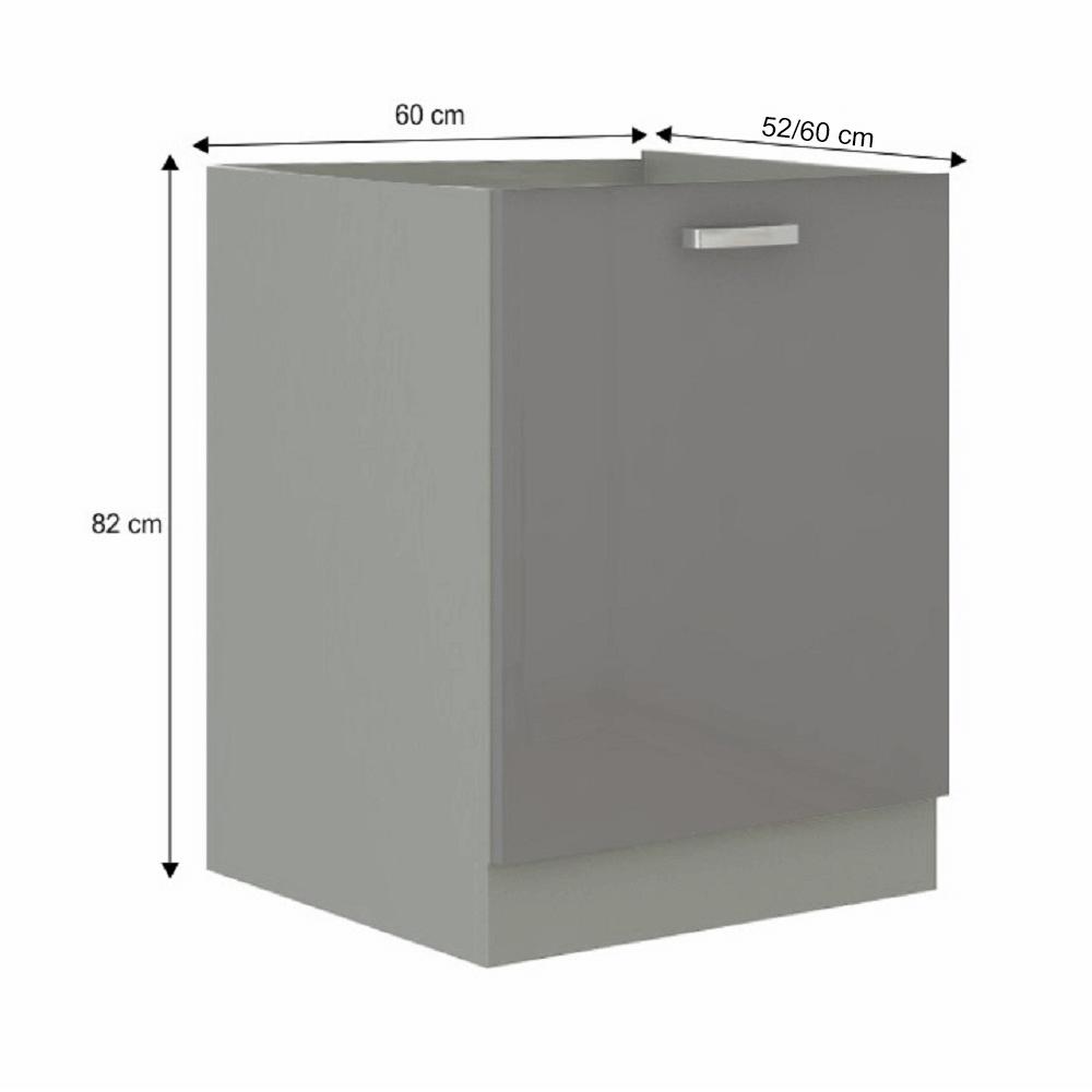 Skříňka dolní, šedá extra vysoký lesk/šedá, PRADO 60 D 1F BB