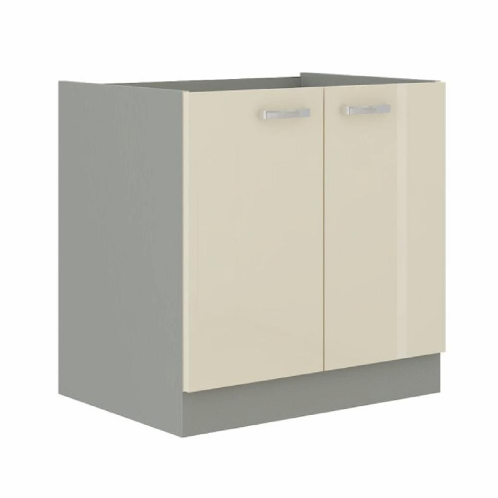 Alsó szekrény, krémszínű magas fényű fehér, PRADO 80 D 2F ZB