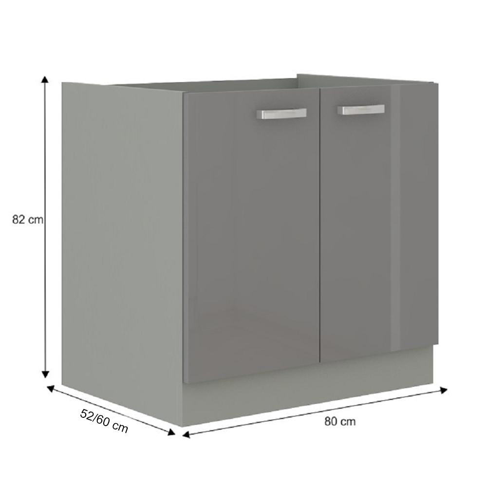 Skříňka dolní, šedá extra vysoký lesk/šedá, PRADO 80 D 2F BB