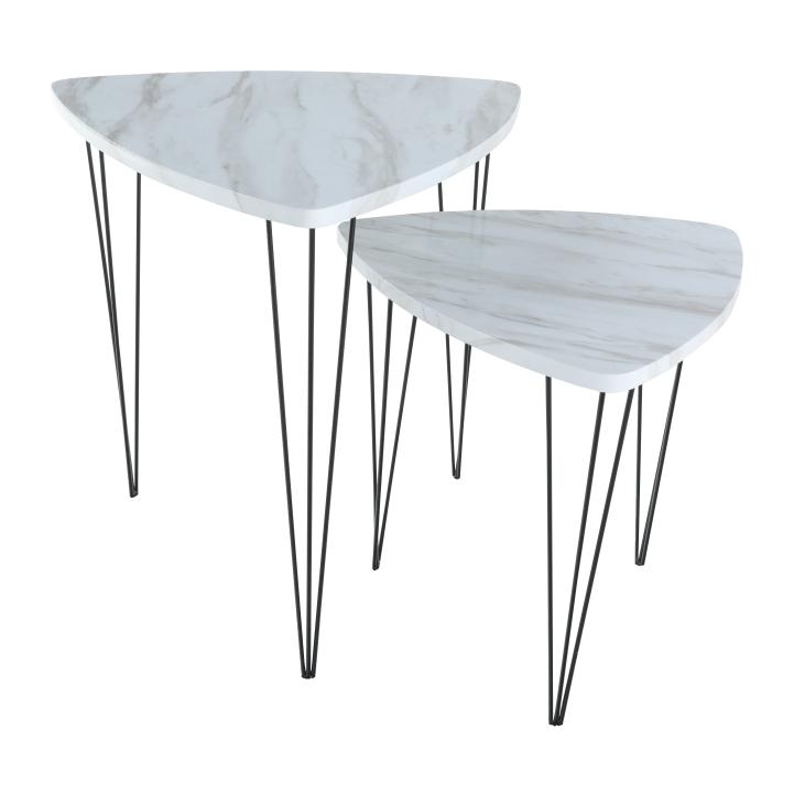 Set 2 konferenčných stolíkov, vzor biely mramor/čierny kov, STOFOL