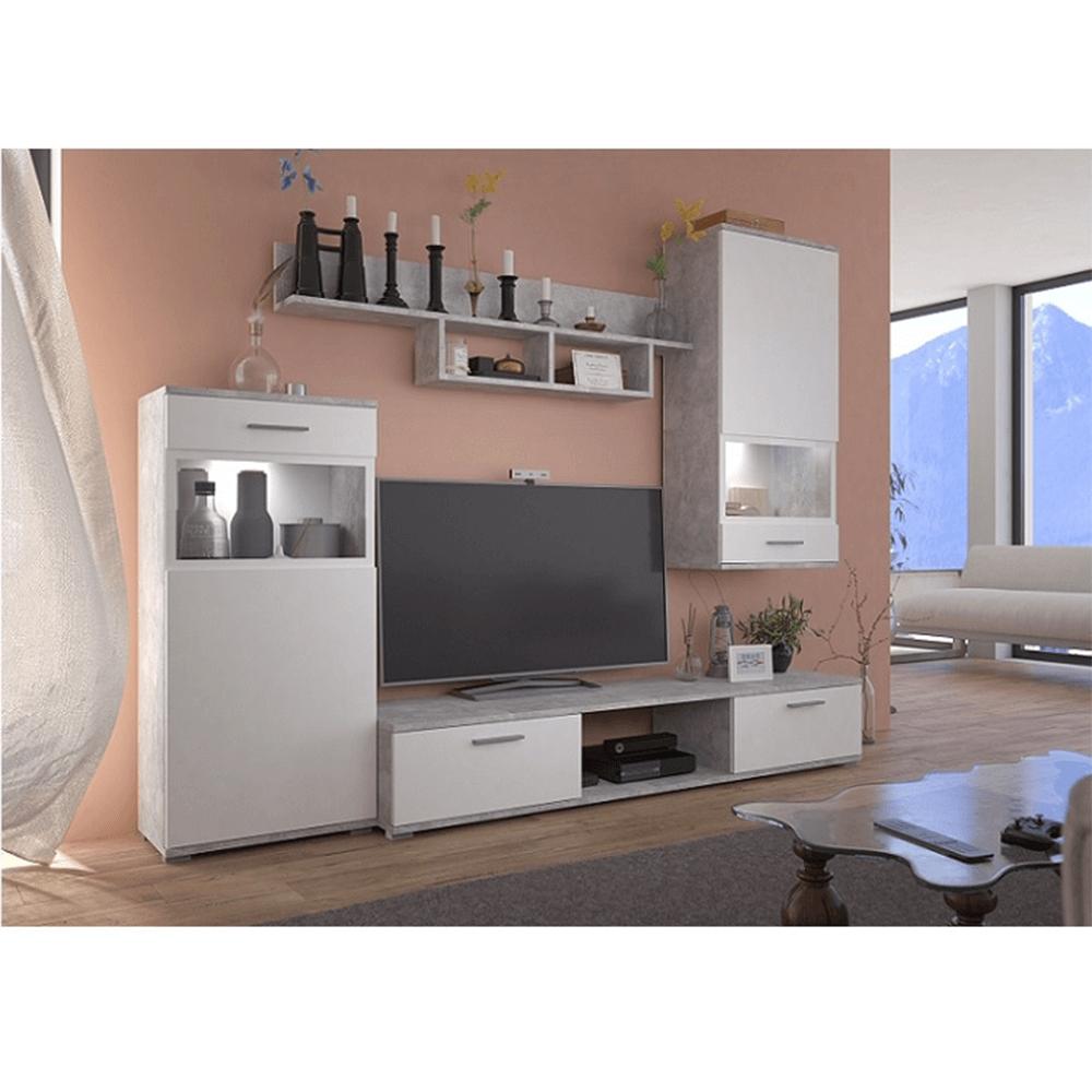 Obývací stěna, bílá / beton světlý, BREAK, TEMPO KONDELA