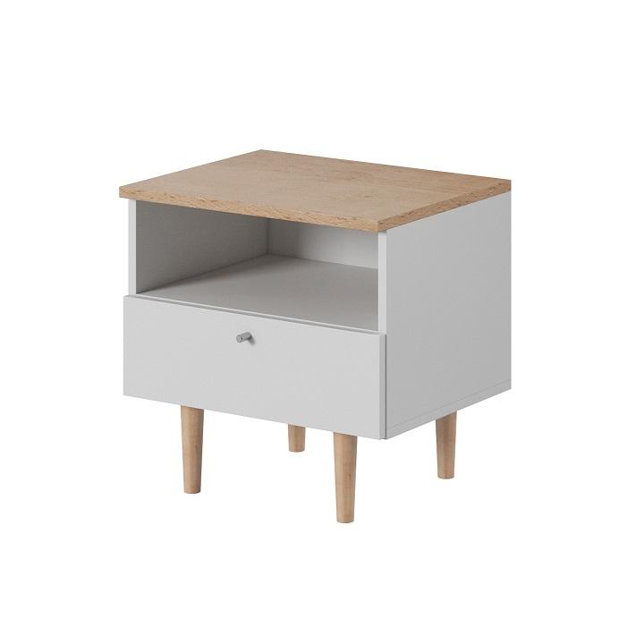 Nočný stolík, biela/buk pieskový, LAVELI  LS50