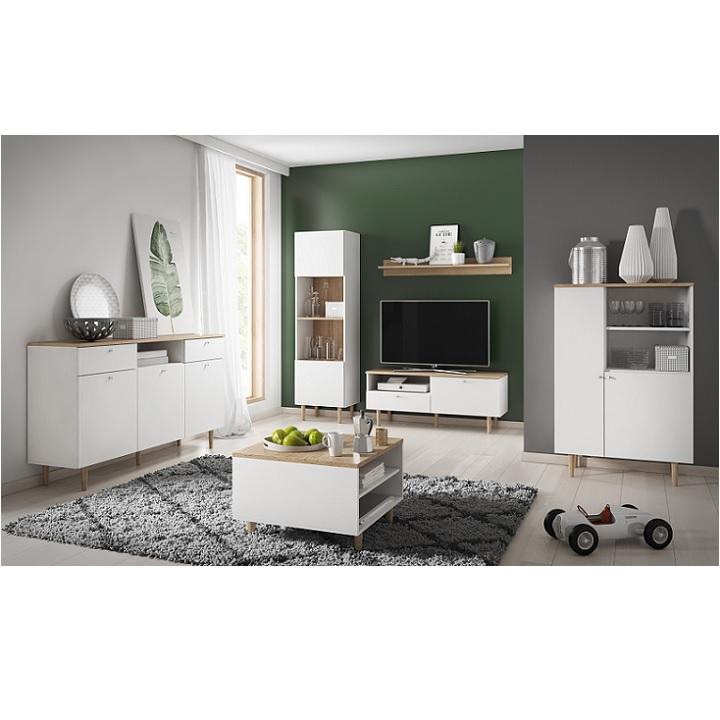 TV állvány, fehér/bükk/homok, LAVELI  LRTV120