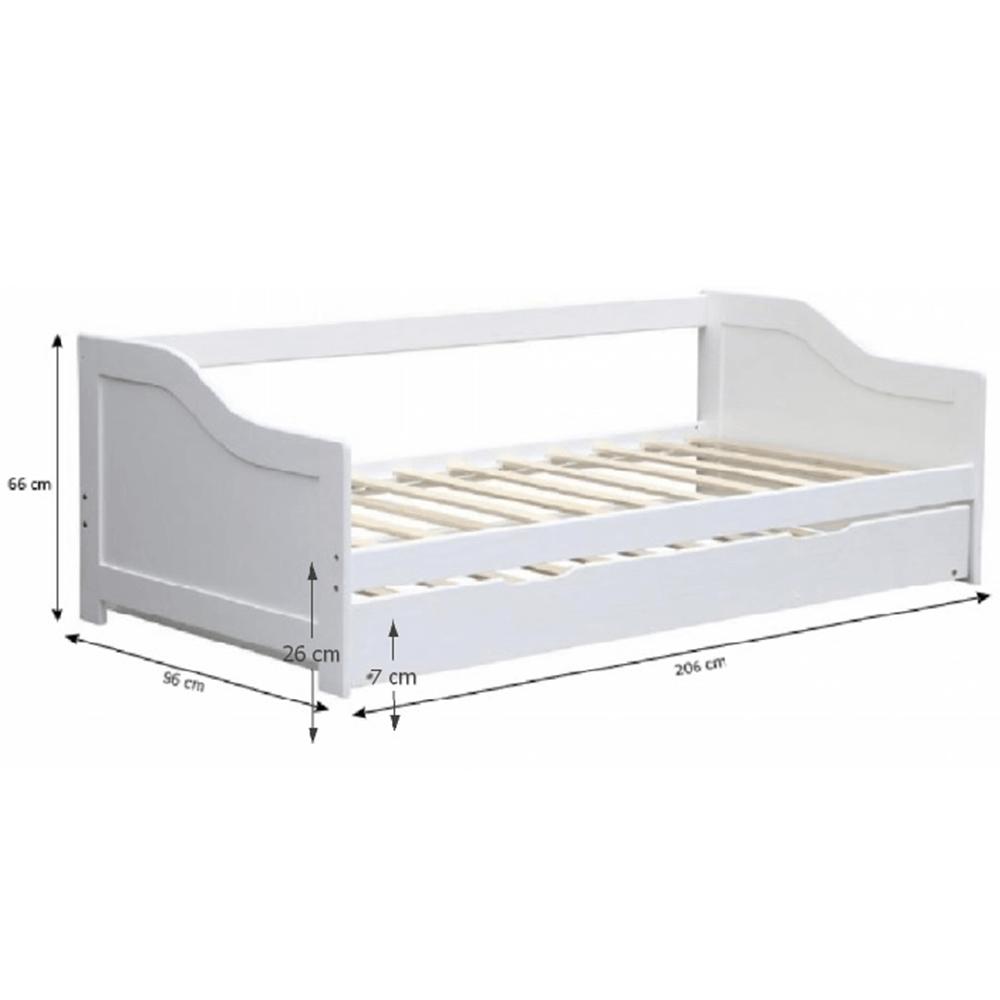 Pat cu pat suplimentar, lemn de pin / alb, 90x200, INTRO