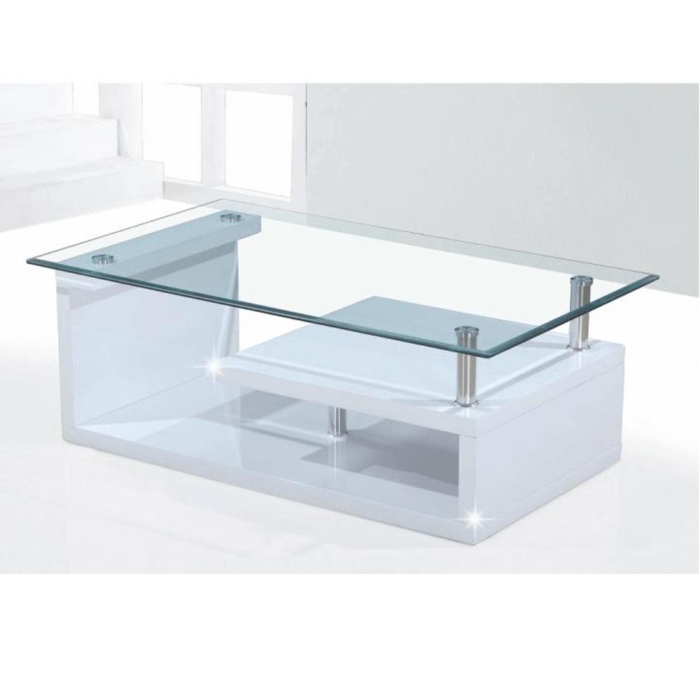 Konferenční stolek, sklo/bílá extra vysoký lesk HG, JULIEN, TEMPO KONDELA
