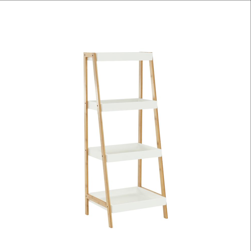 Regál, bambus lakovaný/biela, REGO 2