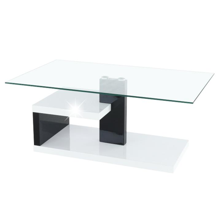 Konferenčný stolík, biela extra vysoký lesk HG/čierna extra vysoký lesk HG, LARS NEW