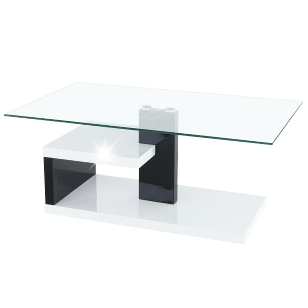 Konferenční stolek, MDF + čiré sklo, bílá / černá s extra vysokým leskem HG, LARS, TEMPO KONDELA