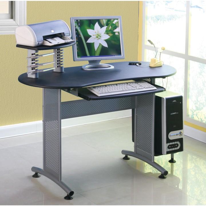 PC stôl, čierna/kov, SILVIKA