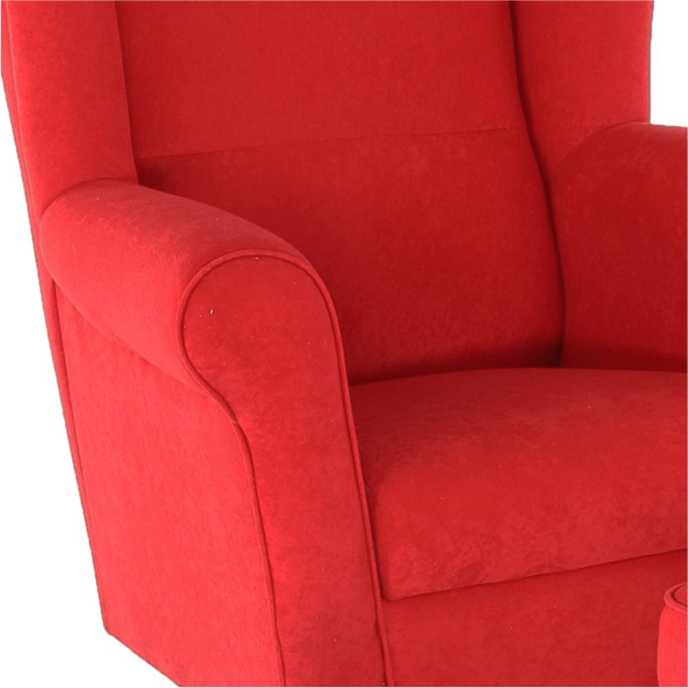 Křeslo ušák, s taburetem, látka červená, ASTRID