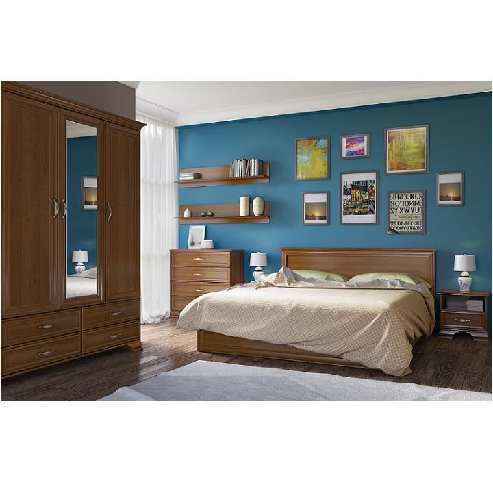 TEMPO KONDELA Spálňová zostava ( skriňa, posteľ 160x200, 2 nočné stolíky), gaštan,TIFFY
