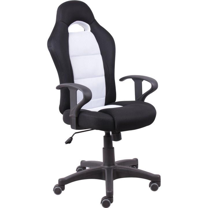 Kancelárska stolička, čierna/biela, SENON