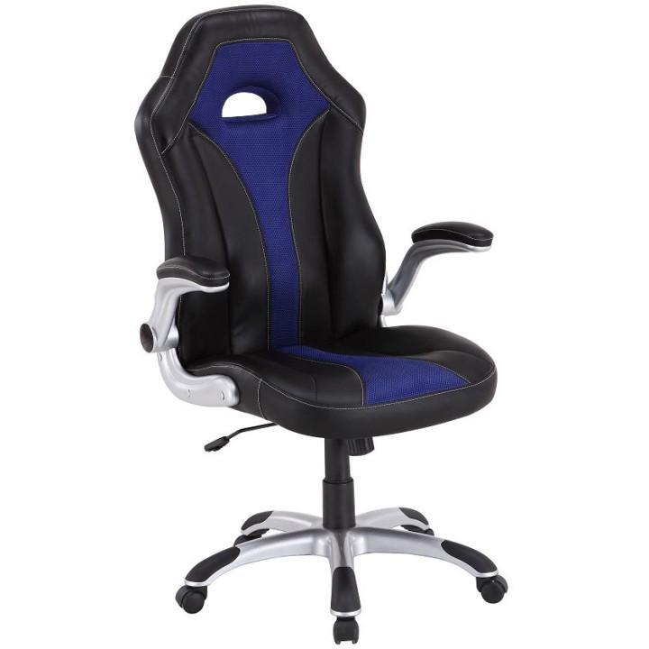 Kancelárska stolička, čierna/modrá, IZAR, Dopredaj