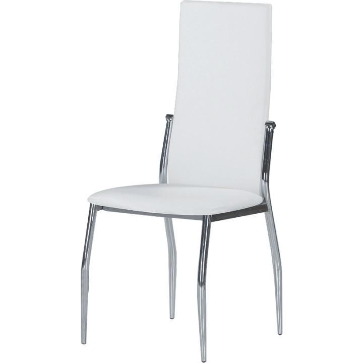 Stolička, ekokoža biela/chróm, SOLANA