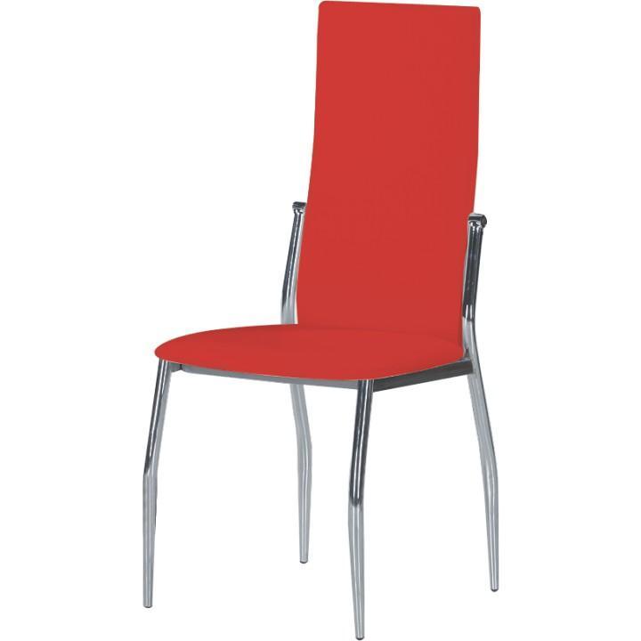 Stolička, ekokoža červená/chróm, SOLANA