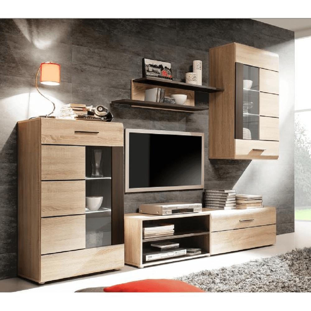 Obývací stěna s LED osvětlením, dub sonoma / sklo, PRESLI-KOMBINO, TEMPO KONDELA