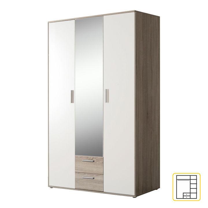Skriňa so zrkadlom, dub sonoma/biela, PANO 83