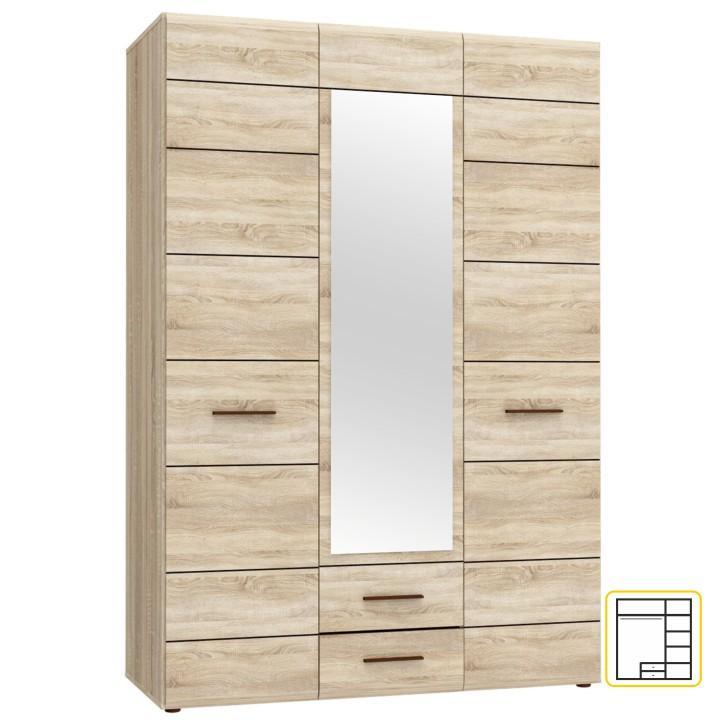 Akasztós szekrény tükörrel, sonoma tölgyfa, KOMBINO CMBS85S