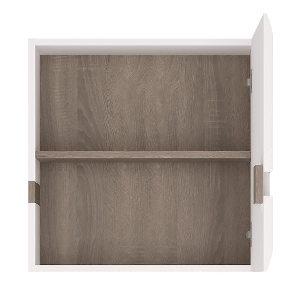 Visící skříňka, bílá extra vysoký lesk HG / dub sonoma tmavý truflový, LYNATET TYP 65, TEMPO KONDELA