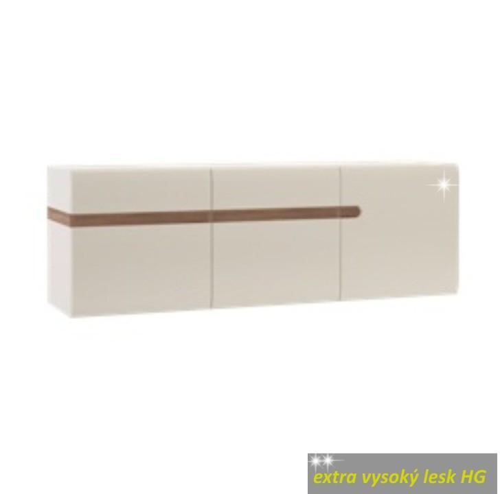 Visiaca skrinka, biela extra vysoký lesk/dub sonoma tmavý truflový, LYNATET TYP 67
