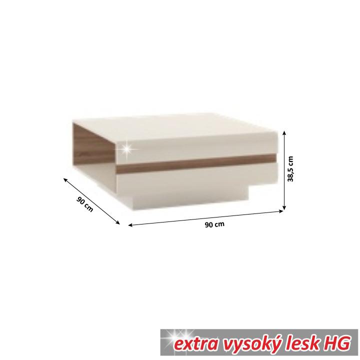 Konferenčný stolík, dub sonoma tvavý truflový/biela extra vysoký lesk HG, LYNATET TYP 70