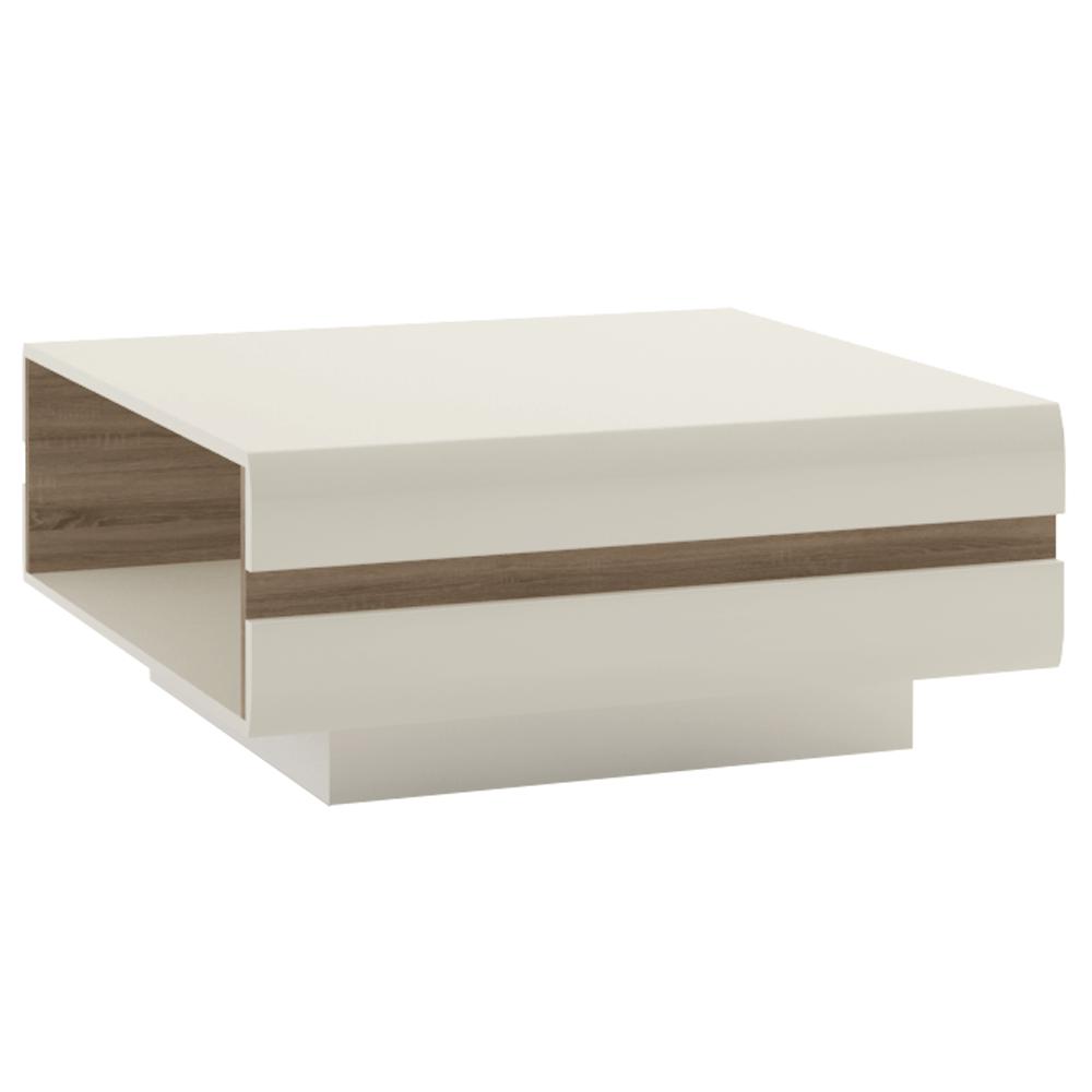 LYNATET TYP 70 - Konferenční stolek, bílá extra vysoký lesk HG / dub sonoma tmavý truflový, LYNATET TYP 70