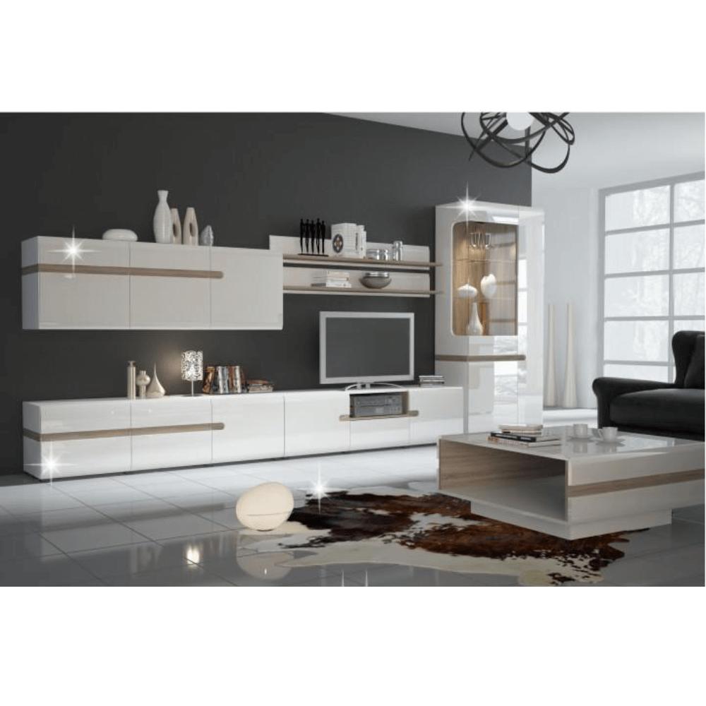 Konferenční stolek, bílá extra vysoký lesk HG / dub sonoma tmavý truflový, LYNATET TYP 70