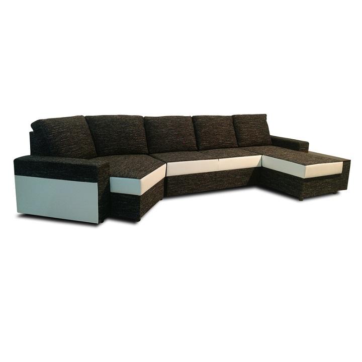 Sarok-ülőgarnitúra ágyfunkcióval, jobb oldalas kivitelezés, fehér textilbőr/fekete zsenília, ROY