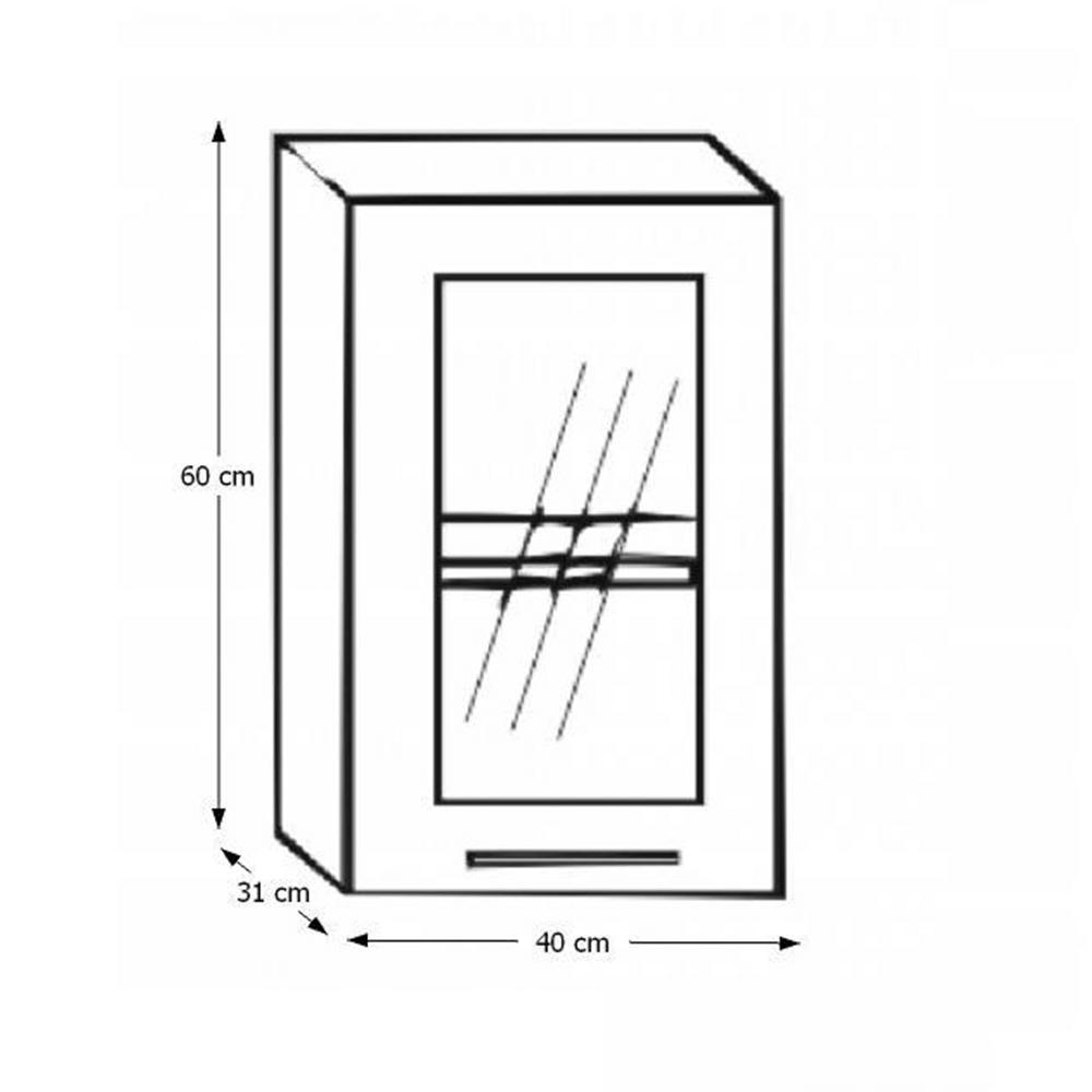 Konyhaszekrény, balos, ezüst keretezés/üveg, ITA GW-40